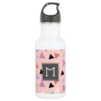 Elegant geometric pattern pink purple mint black 532 ml water bottle