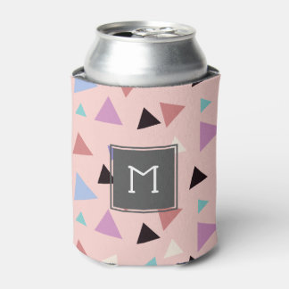 Elegant geometric pattern pink purple mint black can cooler