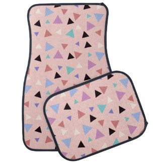 Elegant geometric pattern pink purple mint black car mat
