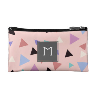 Elegant geometric pattern pink purple mint black makeup bag