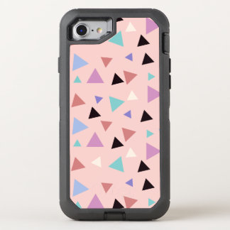 Elegant geometric pattern pink purple mint black OtterBox defender iPhone 8/7 case