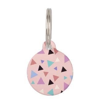 Elegant geometric pattern pink purple mint black pet tag