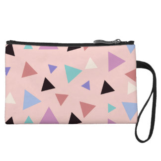 Elegant geometric pattern pink purple mint black wristlet