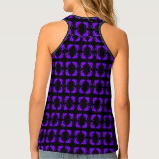 Elegant Geometric Pattern Purple Black Singlet
