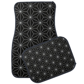 Elegant Geometric Pattern -Silver & Black- Car Mat