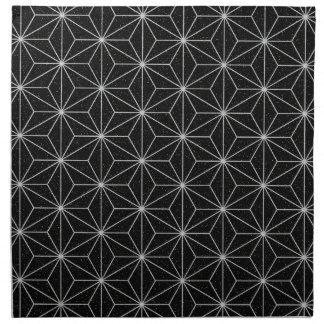 Elegant Geometric Pattern -Silver & Black- Napkin
