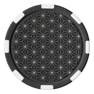 Elegant Geometric Pattern -Silver & Black- Poker Chips