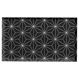 Elegant Geometric Pattern -Silver & Black- Table Card Holder