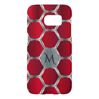 Elegant Geometric Red & Silver Pattern
