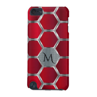 Elegant Geometric Red & Silver Pattern Monogram iPod Touch 5G Covers