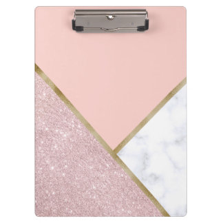 Elegant geometric rose gold glitter white marble clipboard