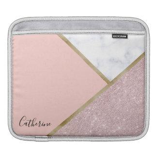 Elegant geometric rose gold glitter white marble iPad sleeve