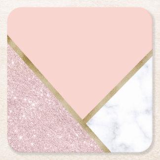 Elegant geometric rose gold glitter white marble square paper coaster