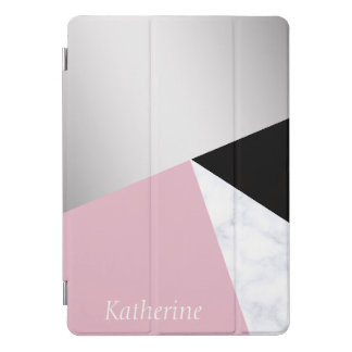 Elegant geometric silver white marble pink black iPad pro cover