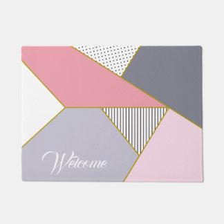Elegant geometric stripes polka dots pastel doormat