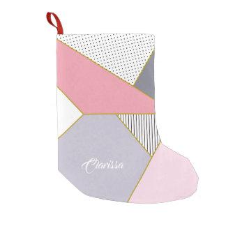 Elegant geometric stripes polka dots pastel small christmas stocking