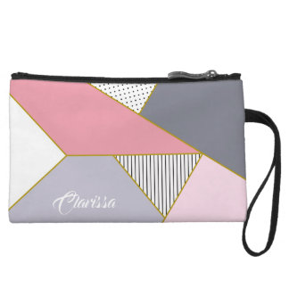 Elegant geometric stripes polka dots pastel wristlet