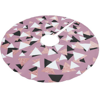Elegant geometric triangles rose gold glitter brushed polyester tree skirt