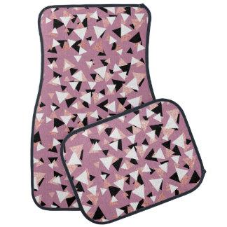 Elegant geometric triangles rose gold glitter car mat