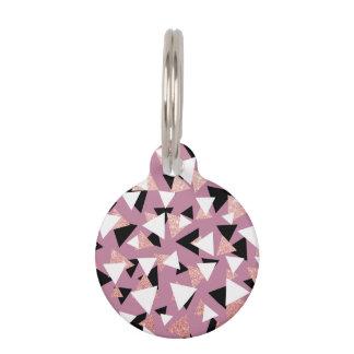Elegant geometric triangles rose gold glitter pet ID tag