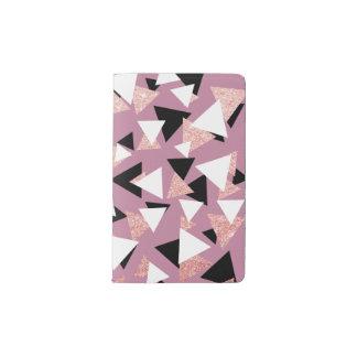 Elegant geometric triangles rose gold glitter pocket moleskine notebook