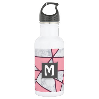 elegant geometric white marble pastel pink and red 532 ml water bottle