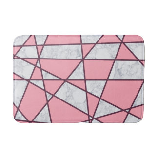 elegant geometric white marble pastel pink and red bath mat