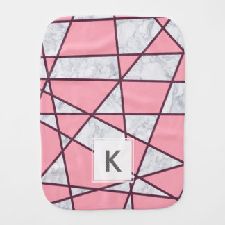 elegant geometric white marble pastel pink and red burp cloth