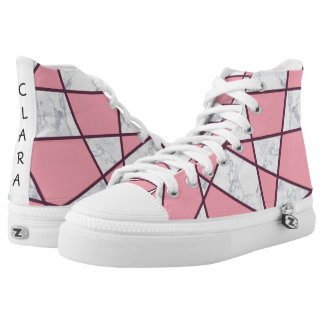 elegant geometric white marble pastel pink and red high tops