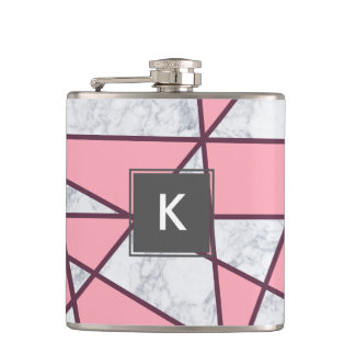 elegant geometric white marble pastel pink and red hip flask