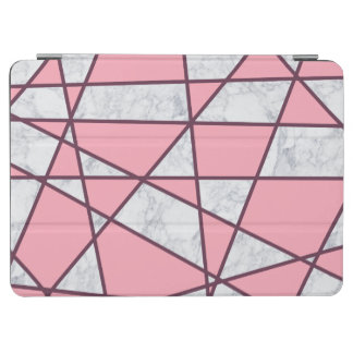 elegant geometric white marble pastel pink and red iPad air cover