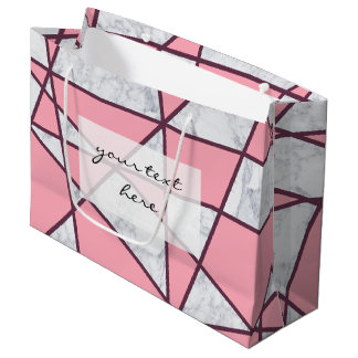 elegant geometric white marble pastel pink and red large gift bag