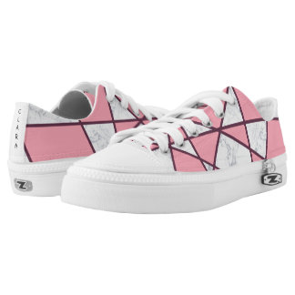 elegant geometric white marble pastel pink and red low tops