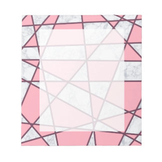 elegant geometric white marble pastel pink and red notepad