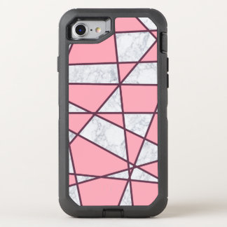 elegant geometric white marble pastel pink and red OtterBox defender iPhone 8/7 case