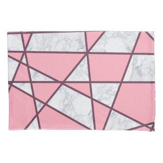 elegant geometric white marble pastel pink and red pillowcase