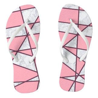 elegant geometric white marble pastel pink and red thongs