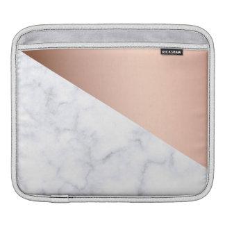 elegant geometric white marble rose gold foil iPad sleeve
