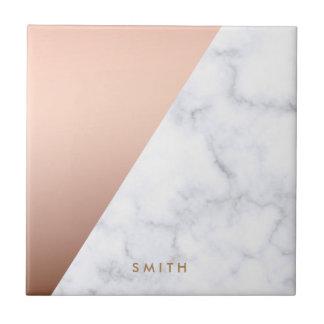 elegant geometric white marble rose gold foil small square tile