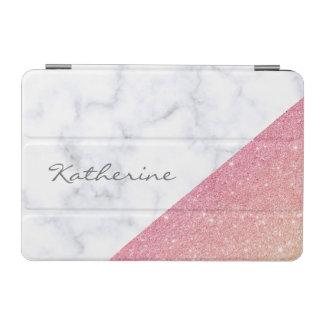 Elegant geometric white marble rose gold glitter iPad mini cover