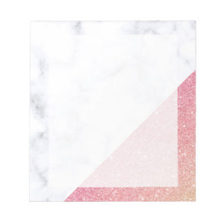 Elegant geometric white marble rose gold glitter notepad