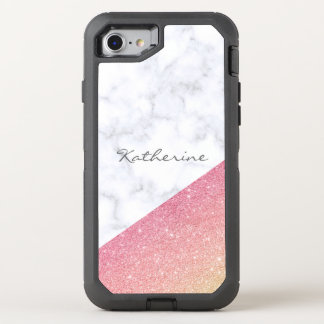 Elegant geometric white marble rose gold glitter OtterBox defender iPhone 8/7 case