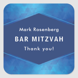 Elegant Geometric with Diamond Texture Bar Mitzvah Square Sticker