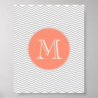 Elegant geometry of chevrón and monograma poster