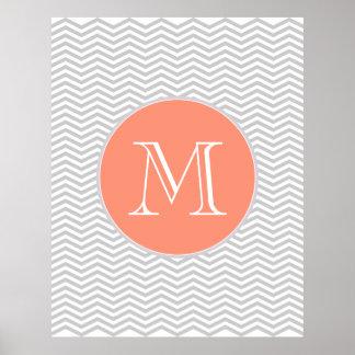 Elegant geometry of chevrón and monograma posters