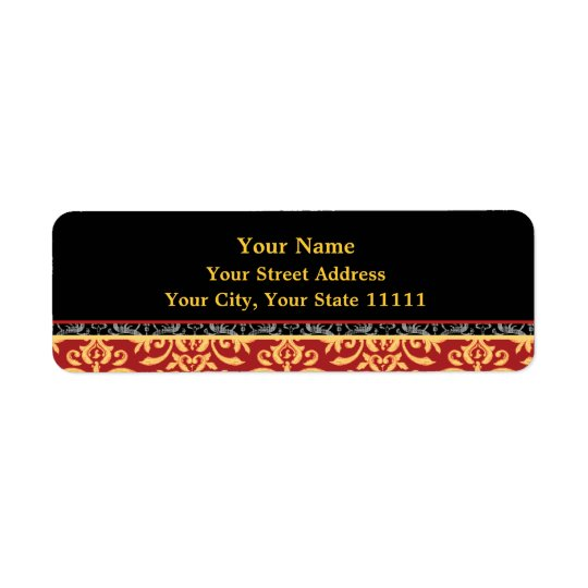 Elegant Gilded Damask Red, Black and Gold Return Return Address Label