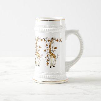 Elegant giraffes gold and white beer stein