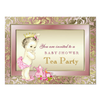 "Elegant Girl Tea Party Baby Shower 6.5"" X 8.75"" Invitation Card"