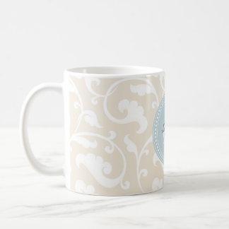 Elegant girly beige floral pattern monogram coffee mugs