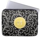 Elegant girly black floral pattern monogram laptop sleeve